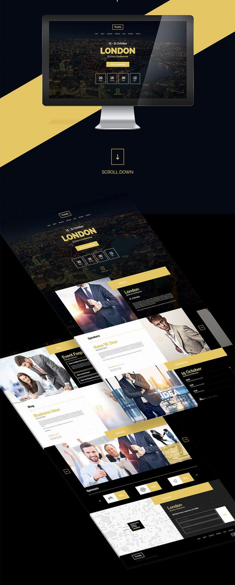 Business Event Invitation Website Template PSD