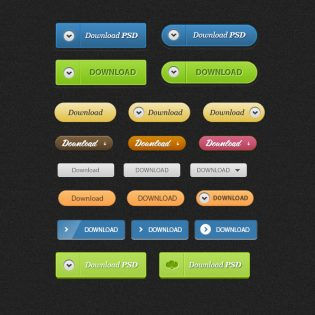 Download Buttons Free PSD File