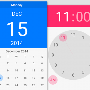 Calendar and Time Android Lollipop Widget PSD