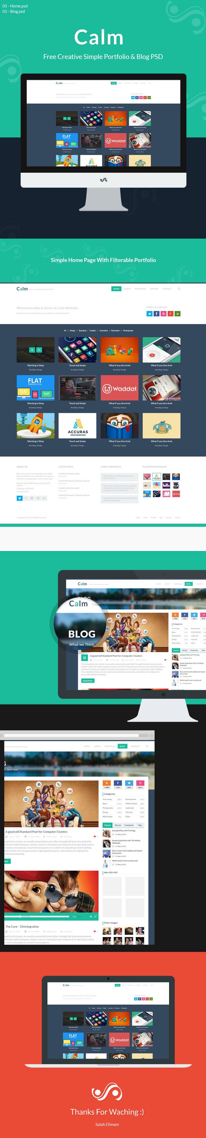 Calm Free Creative Simple Portfolio & Blog PSD