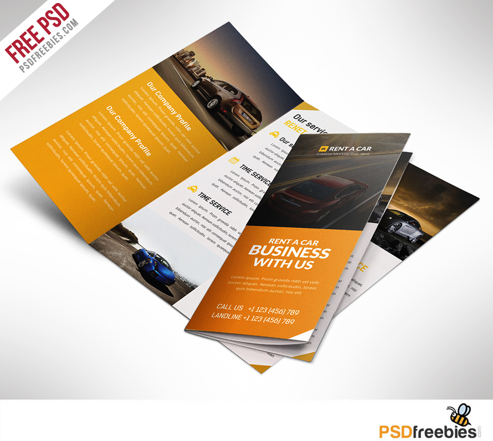 Car dealer and services trifold brochure free psd download for Free templates for brochures and flyers