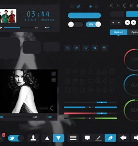 Carbon Black Web UI Elements Kit Video Player, ui set, ui kit, UI elements, UI, toggles, Social Icons, Sliders, settings, Music Player, loaders, iOS, Icon, free download, Free, Carbon, Black,