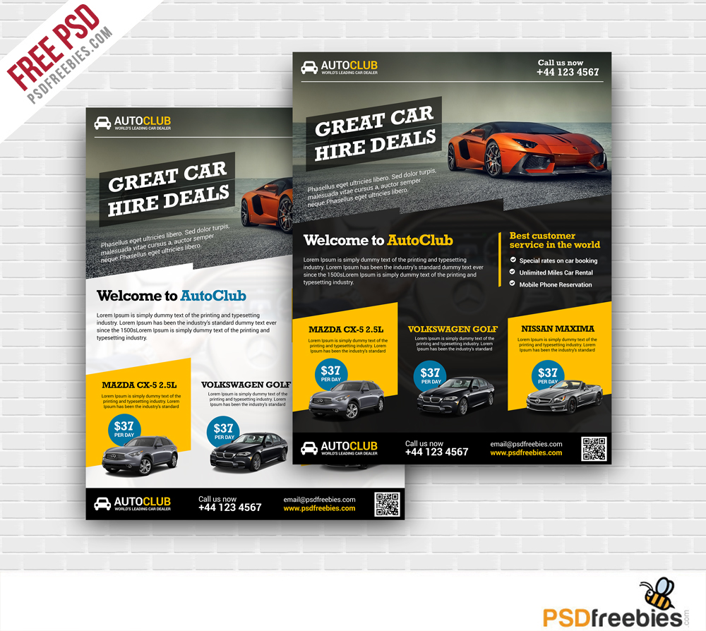 Cars rental flyer free psd template download psd for Free brochure psd templates download
