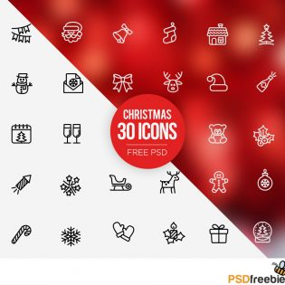 30 Christmas icons set Free PSD