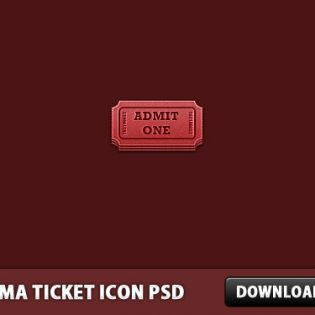 Cinema Ticket Icon PSD