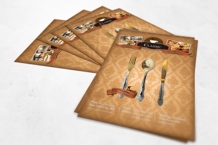 Classic Coffee House Restaurant Flyer PSD unique, Stylish, spoon, Ribbon, Restaurant, Resources, Quality, Psd Templates, PSD Sources, psd resources, PSD images, psd free download, psd free, PSD file, psd download, PSD, printable, Photoshop, original, Old Style, new, Modern, Layered PSDs, Layered PSD, hi-res, HD, Graphics, Graphic, Fresh, Freebies, Free Resources, Free PSD, free download, Free, Flyer, download psd, download free psd, Download, detailed, Design, Creative, Coffee, Adobe Photoshop,