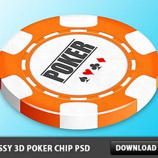 Classy 3D Poker Chip Free PSD