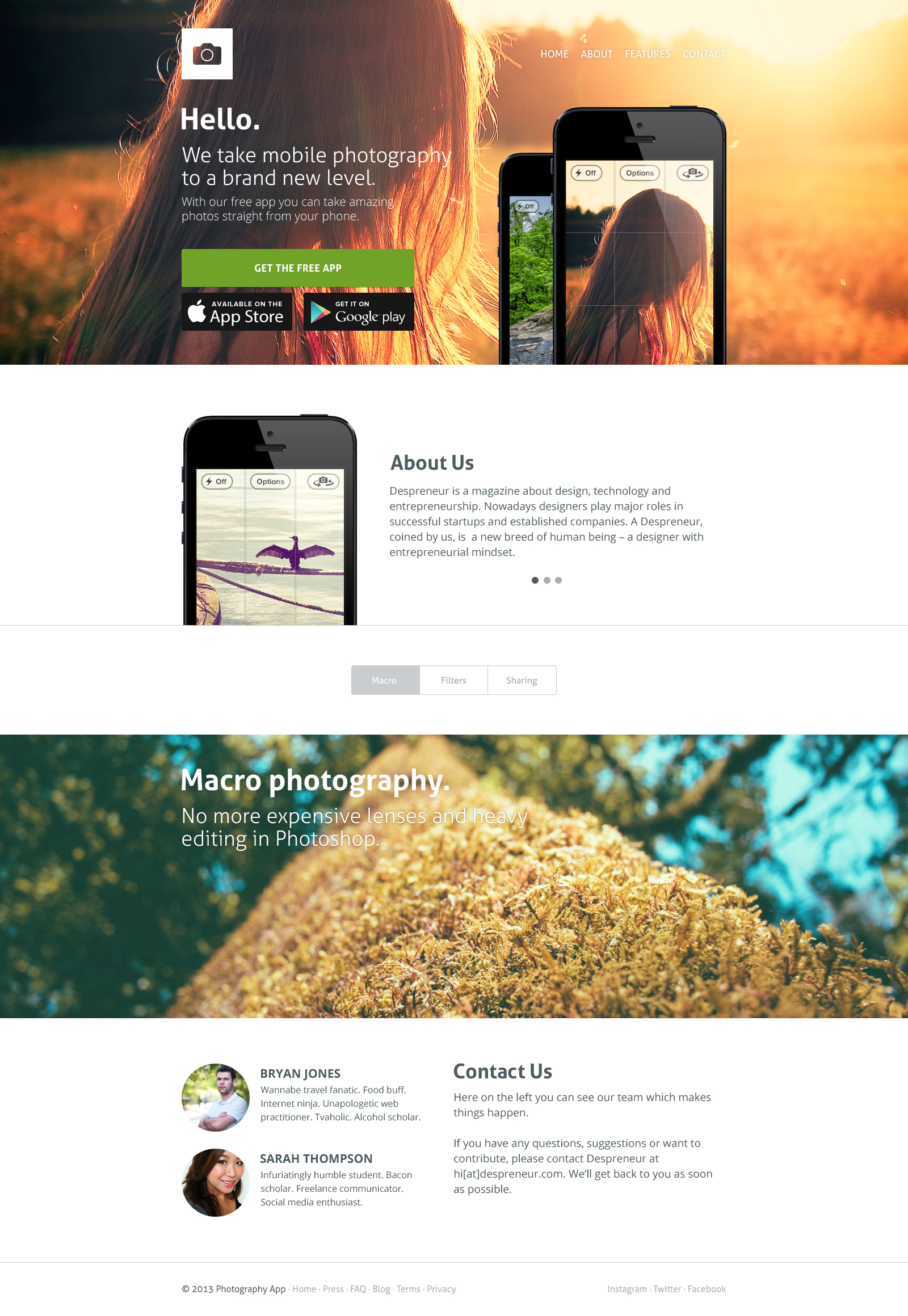 Clean App Website Template Free PSD
