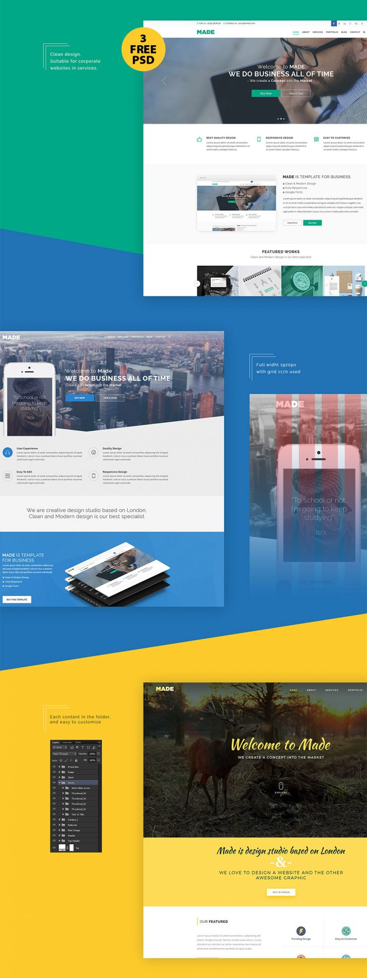 Clean corporate website design free psd template download for Website layout design software free download