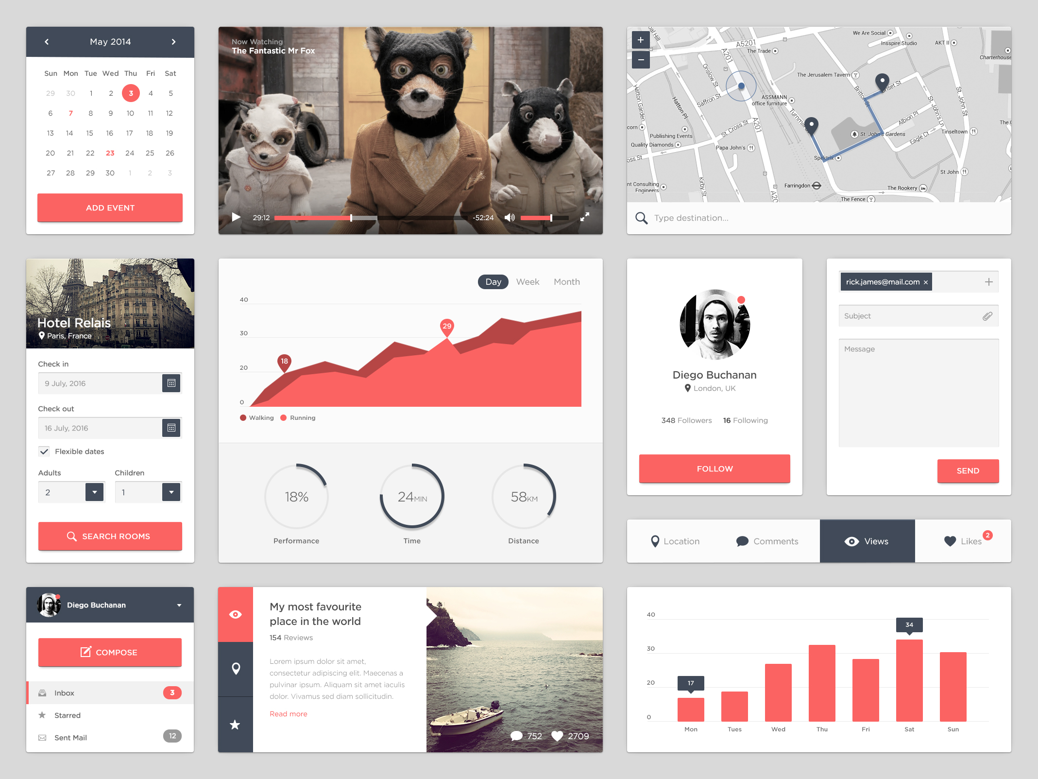 Clean Flat UI Kit Free PSD file