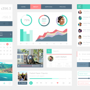 Clean Flat UI Kit PSD file