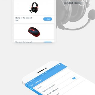 Clean Material style eCommerce iOS App Free PSD