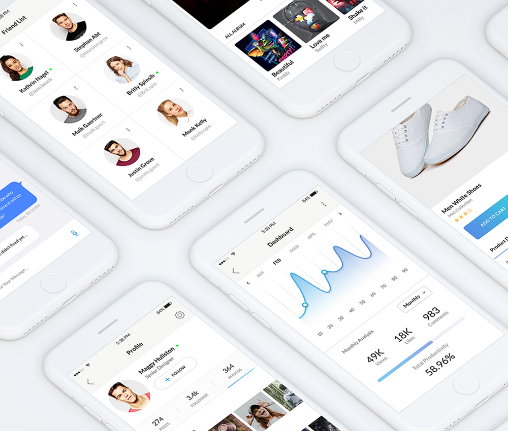 Clean Mobile App UI Kit Free PSD