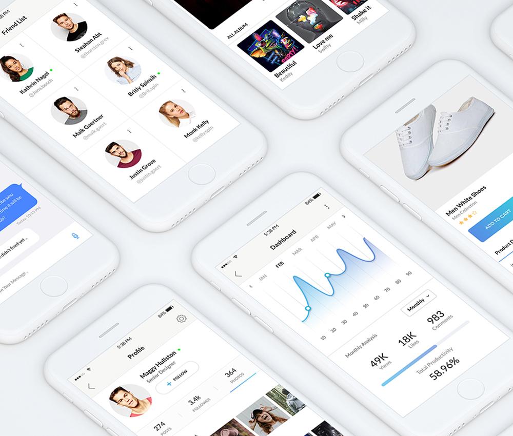 Clean Mobile App UI Kit Free PSD