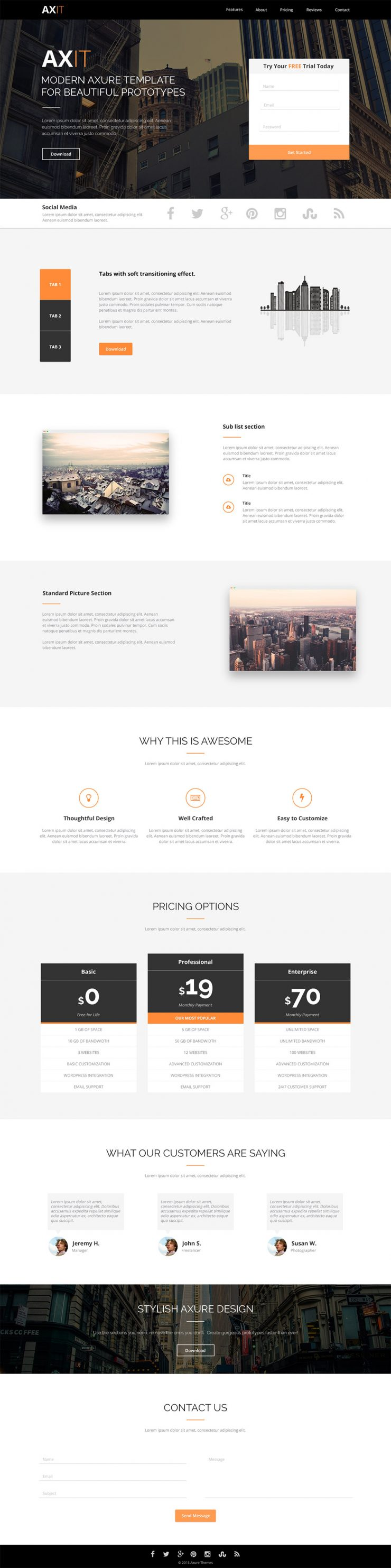 Clean Modern Landing page Template Design Free PSD