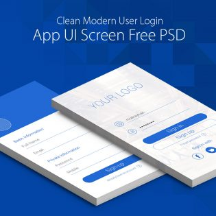 Clean Modern User Login App UI Screen Free PSD