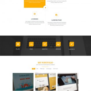 Clean One Page Corporate Portfolio Website Template Free PSD