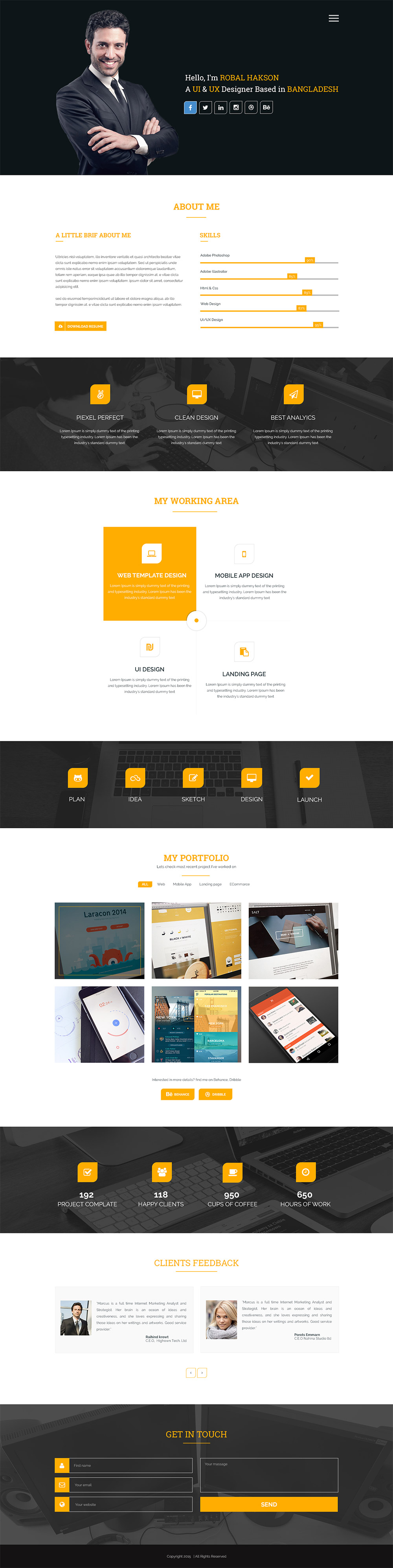 clean one page corporate portfolio website template free psd download psd. Black Bedroom Furniture Sets. Home Design Ideas