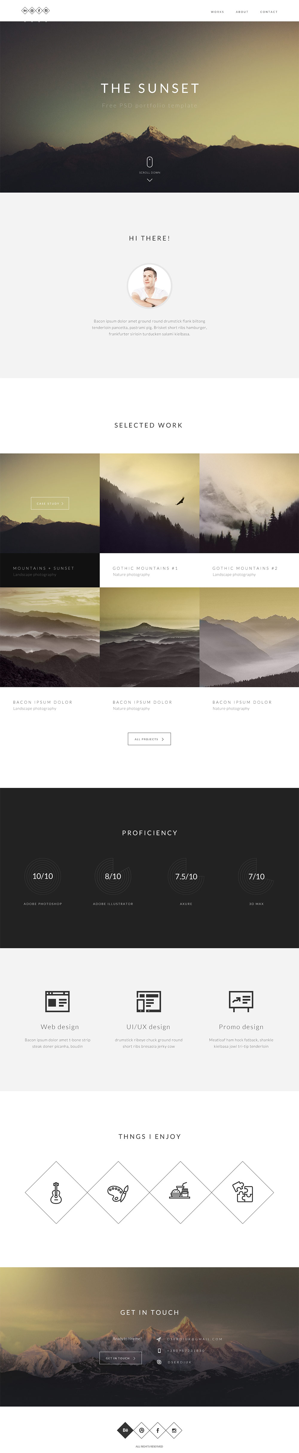 Clean One page Portfolio Website Template PSD