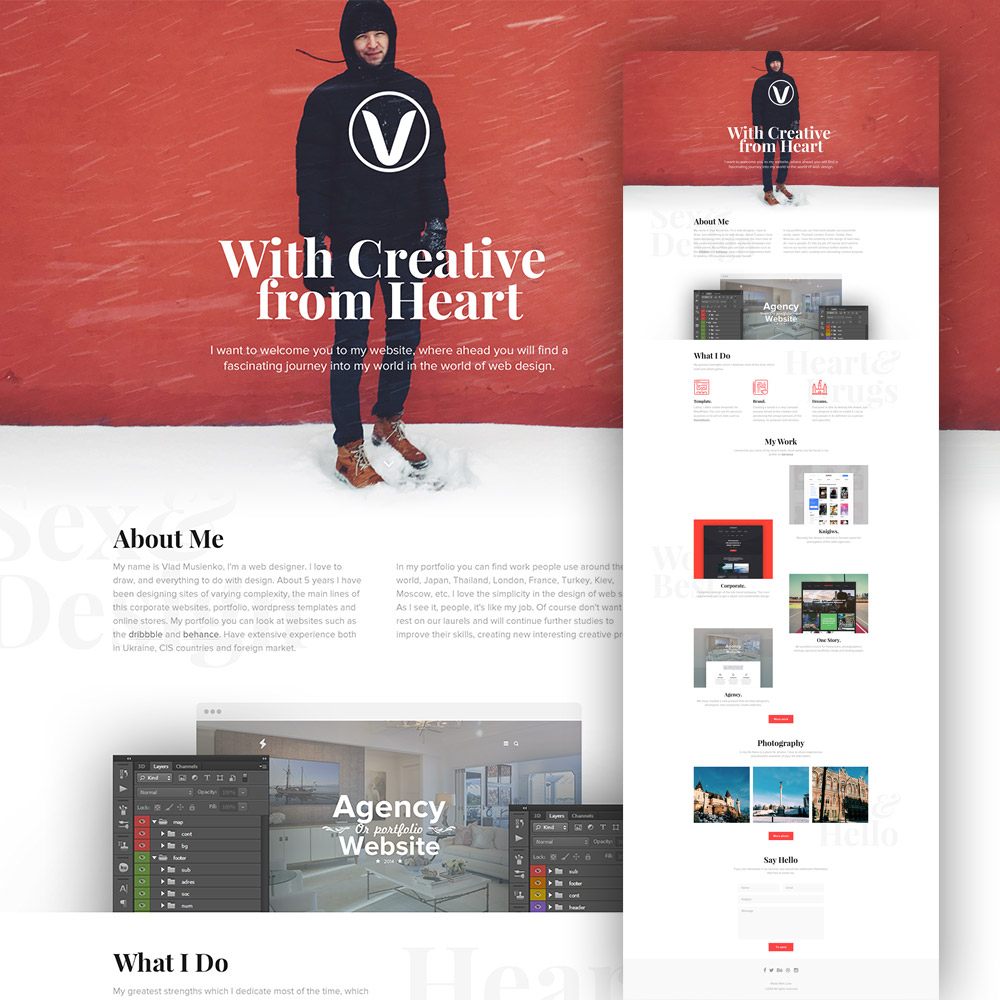 Clean Personal Website Design Template Free PSD