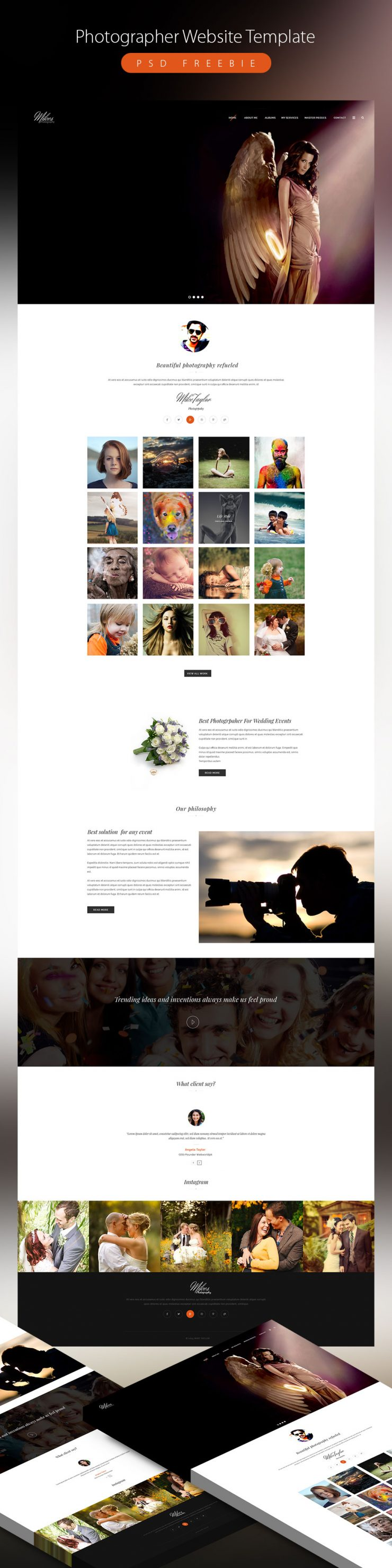 Clean photographer website template psd freebie download for Free photography website templates