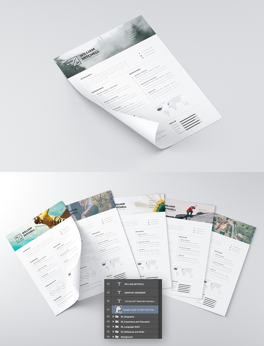 Clean Professional Resume Free PSD Template