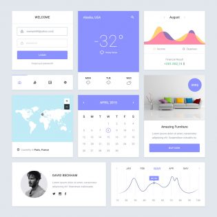 Clean Purple Dashboard Flat UI Kit PSD