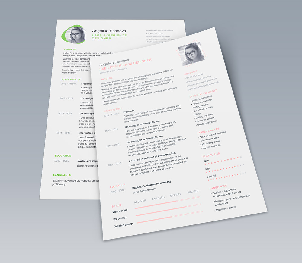 25+ Best Free Resume / CV Templates PSD - Download PSD