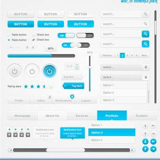 Clean UI Element Pack PSD