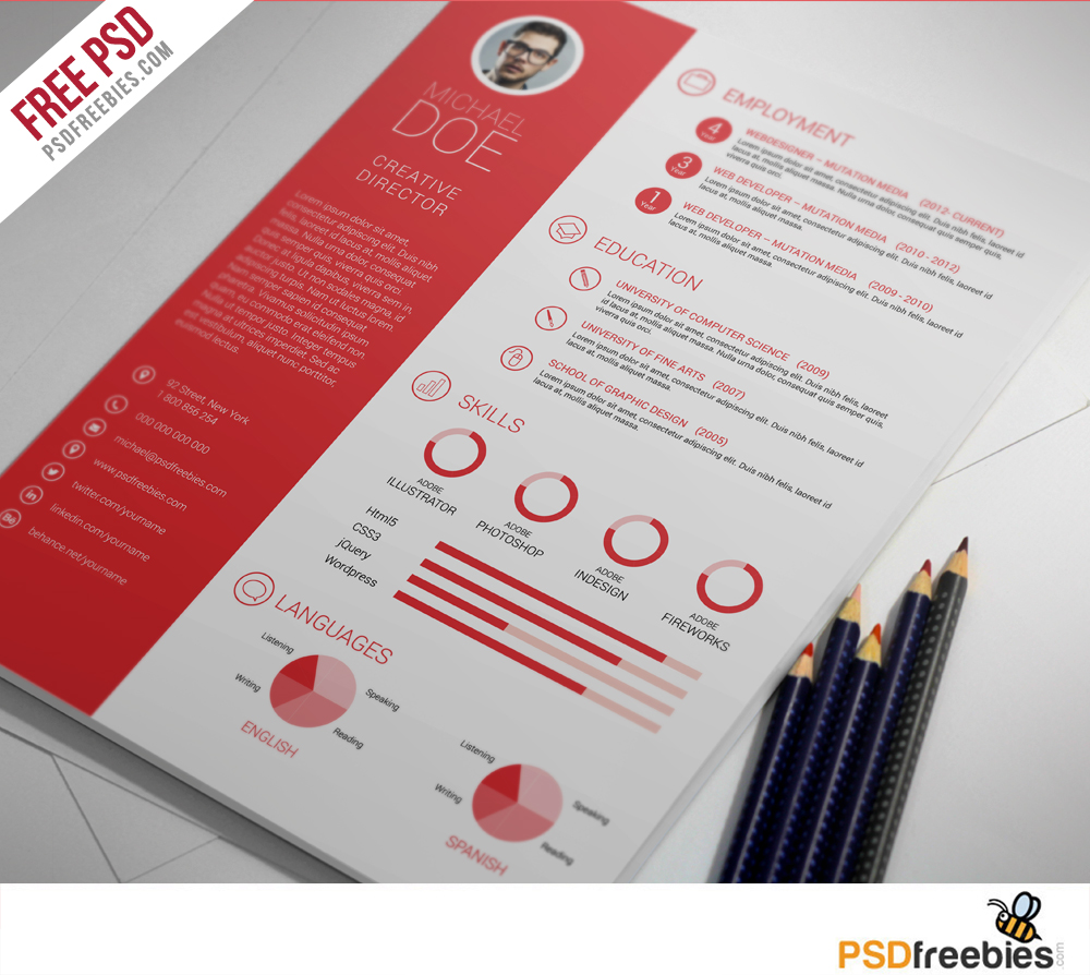 free clean and professional resume free psd