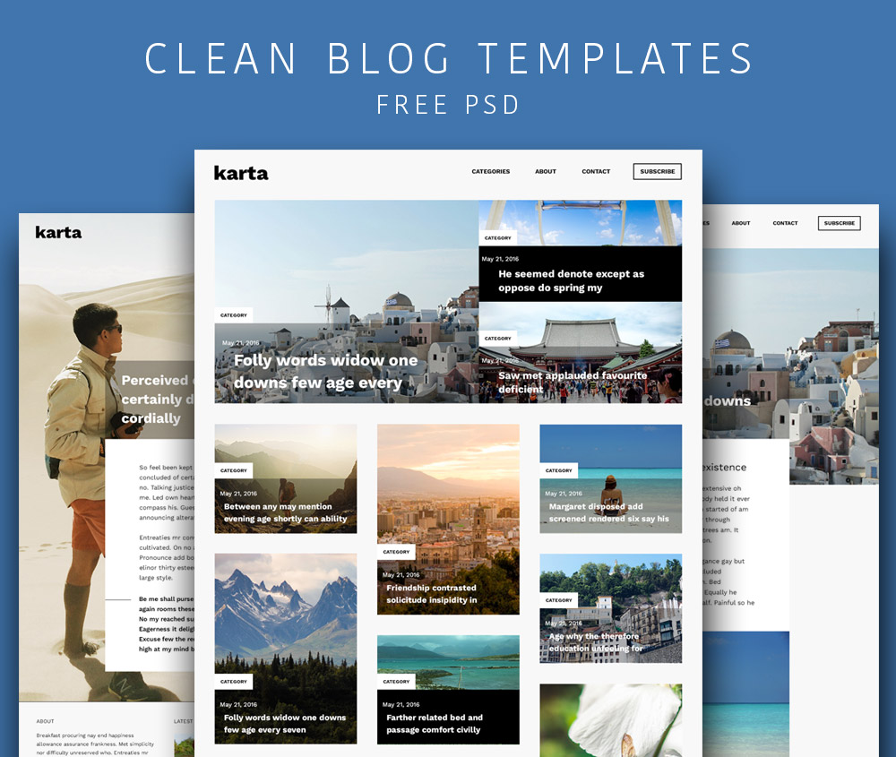 Clean and Simple Blog Templates Free PSD Download - Download PSD