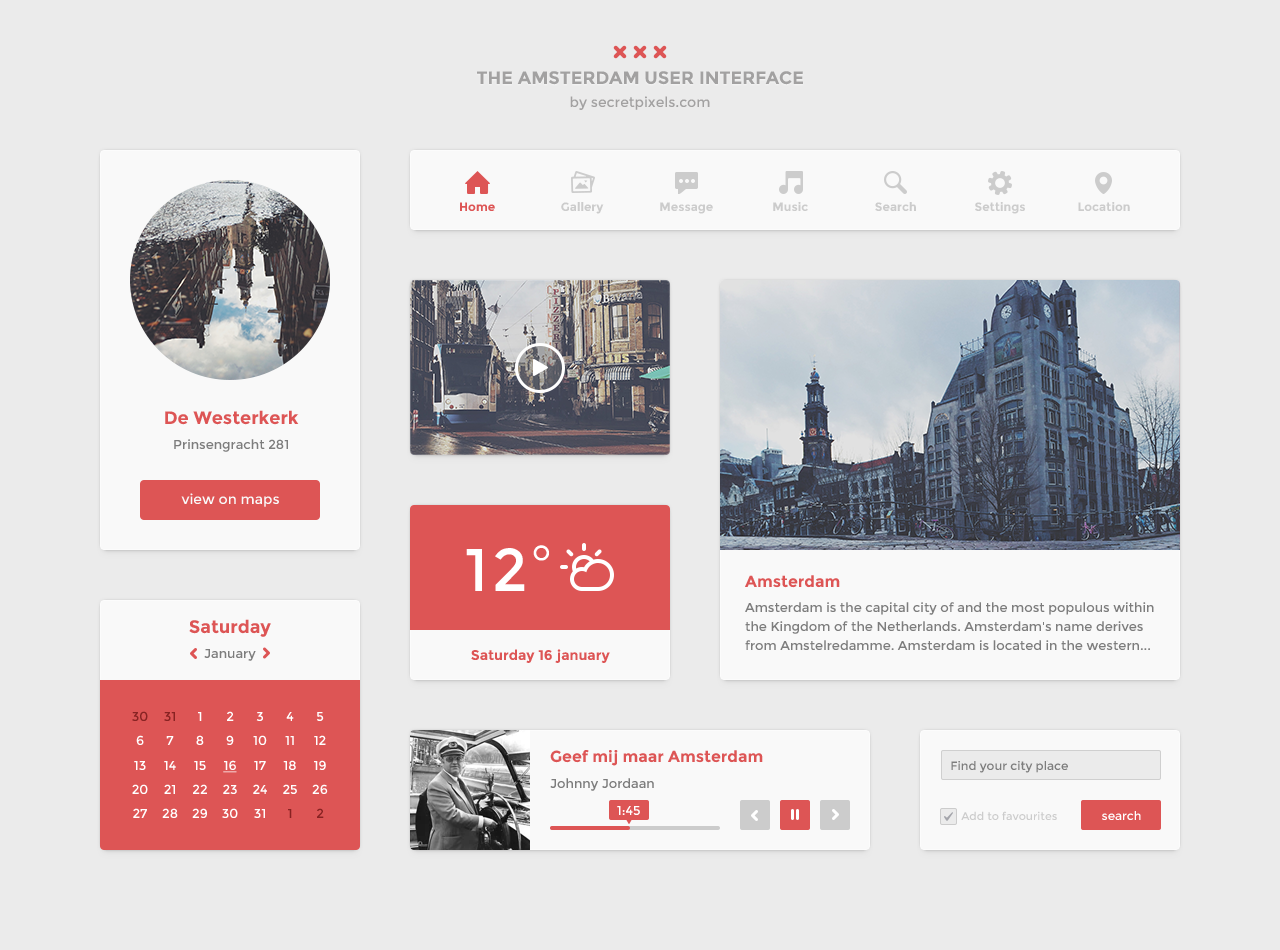 Clean And Simple Flat UI Kit PSD