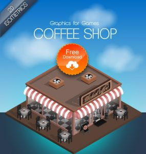 Coffee Shop Game Graphics PSD Freebie unique Stylish Shop Restaurant Resources Quality PSD file PSD Photoshop pack original new Modern Isometric interior Icons Graphics Game Fresh Freebies Free Resources Free floor plan floor Elements dinner detailed Design Creative Commercial coffee shop Coffee Clean Chair apartment 3D 2d