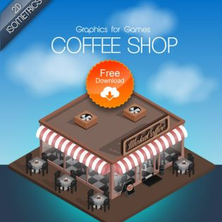 Coffee Shop Game Graphics PSD Freebie