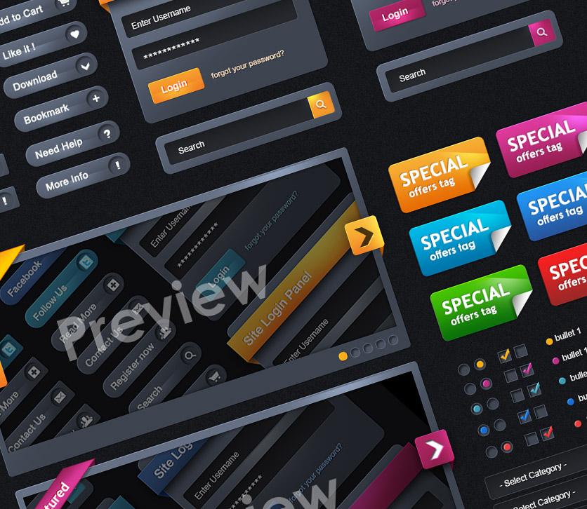 Color Web Elements UI PSD