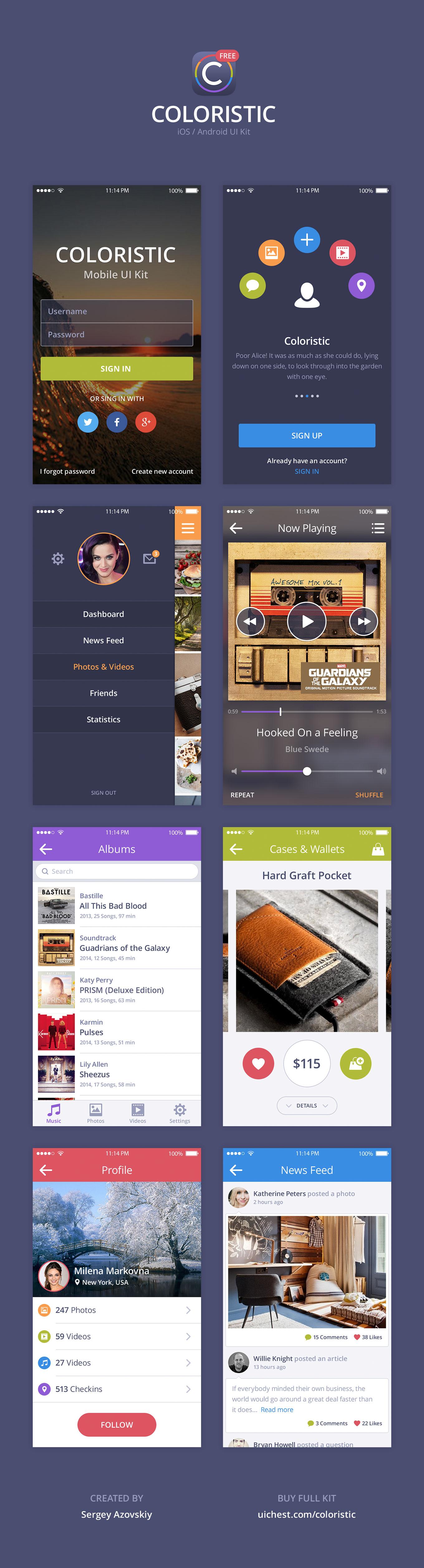 Colorful App UI Kit PSD Freebie