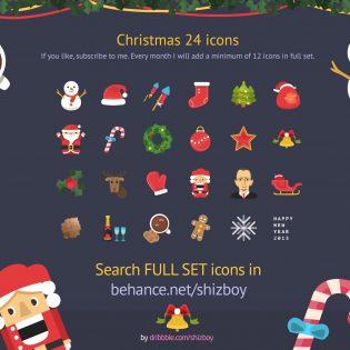 Colorful Christmas Free Flat Icons Set PSD