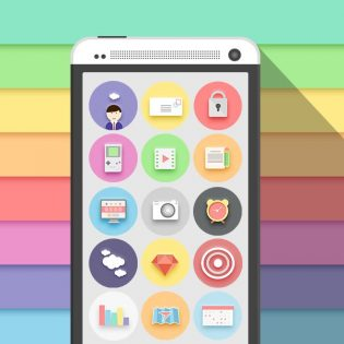 Colorful Flat Icon Set PSD