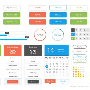 Colorful Flat UI Kit PSD Freebie