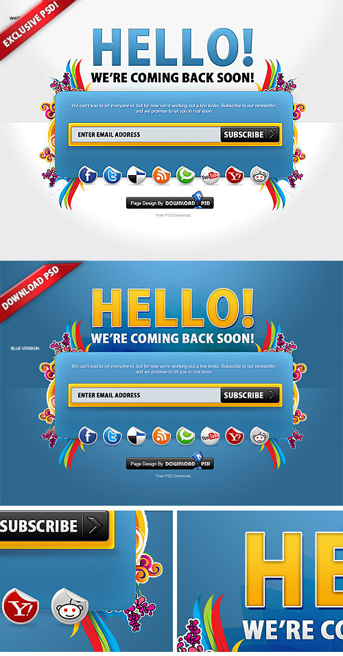 Colorful Free Coming Soon Page PSD