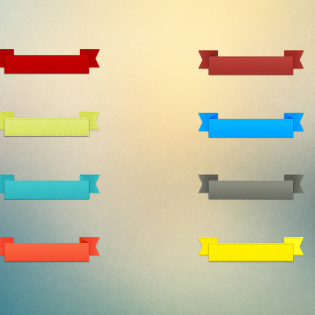 Colorful Label Ribbon Banners Set PSD