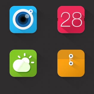 Colorful Long Shadow App Icons Set PSD