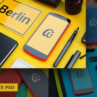 Colorful Nexus 5 Mobile Free Mockup PSD
