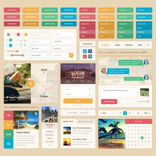 Colorful Travel UI Kit Free PSD