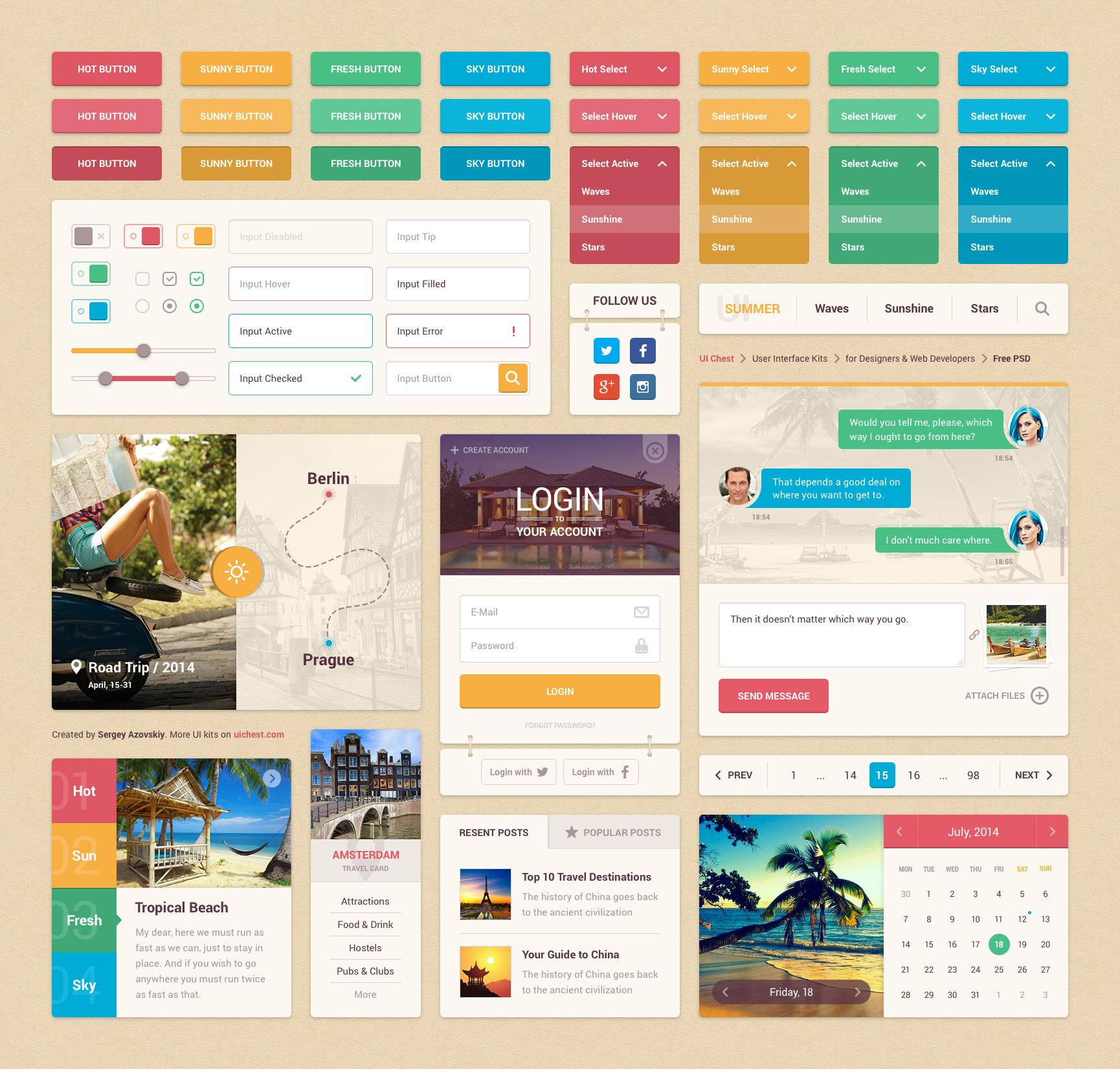 Colorful Travel UI Kit Free PSD