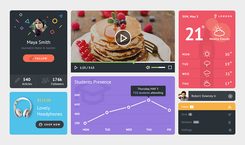 Colorful Widgets UI Kit Free PSD