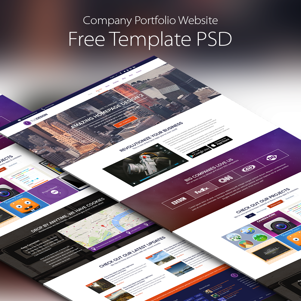 Company portfolio website template free psd download psd wajeb Gallery