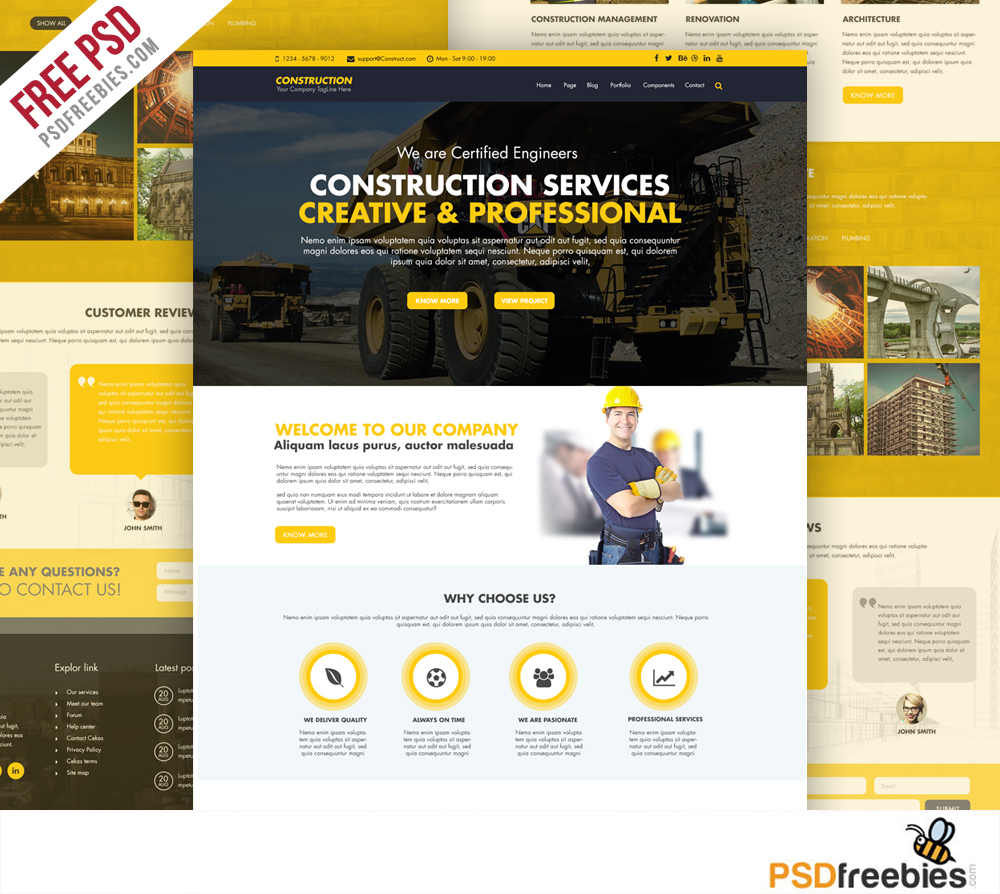construction company website template free psd yellow www worker work wordpress - Free Website Templates