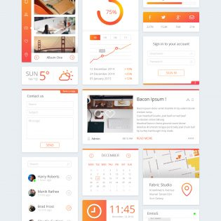 Cool Orange Dashboard UI Free PSD Kit
