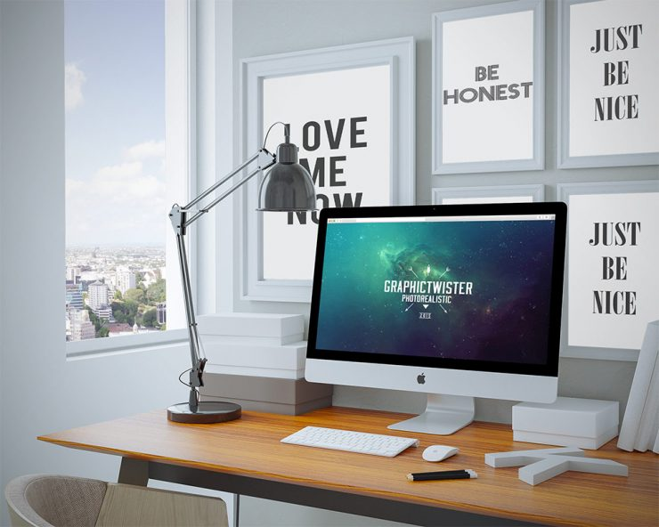 Cool Workspace iMac Presentation PSD Mockup Template